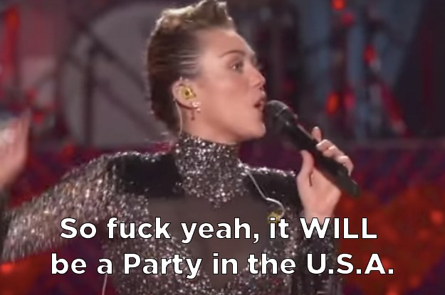 """Miley Cyrus Surprised Everyone With A Political Rendition Of """"Party In The U.S.A."""""""