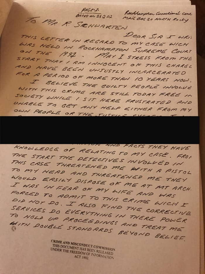Kevin Henry's letter to Rockhampton MP Robert Schwarten in 2002.