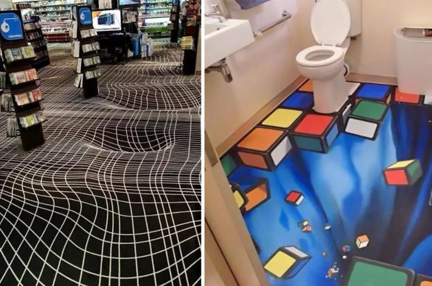 These floor optical illusions are basically a drunk person for Floor illusions