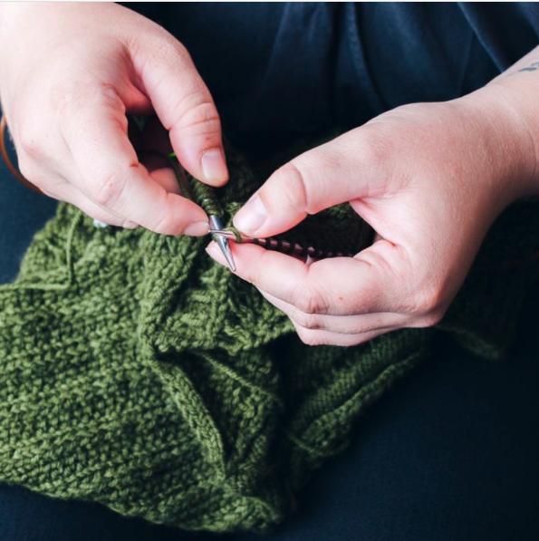 Start knitting or crocheting.