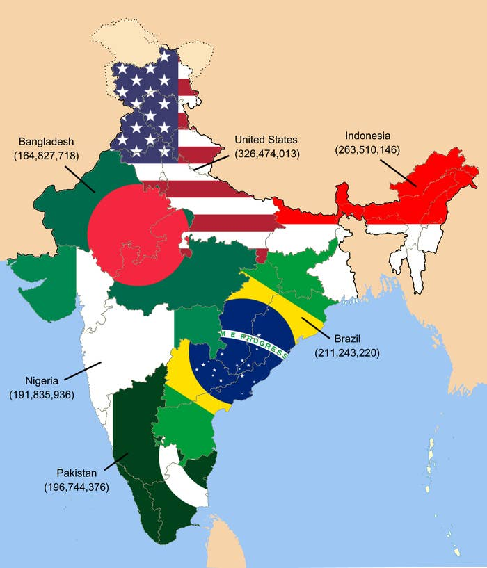 16 Fascinating Maps That'll Change Your Perception Of India on map of india bodies of water, map of india indus river, map of india world, map of india south asia, map of india himalayas, map of india krishna river, map of india arabian sea, map of india central asia, map of india mount everest, map of india ganges river, map of india by regions, map of india islands, map of india equator, map of india geography, map of india hindu kush, map of india religion, map of india bahrain, map of pakistan, flag indonesia, map of india country,