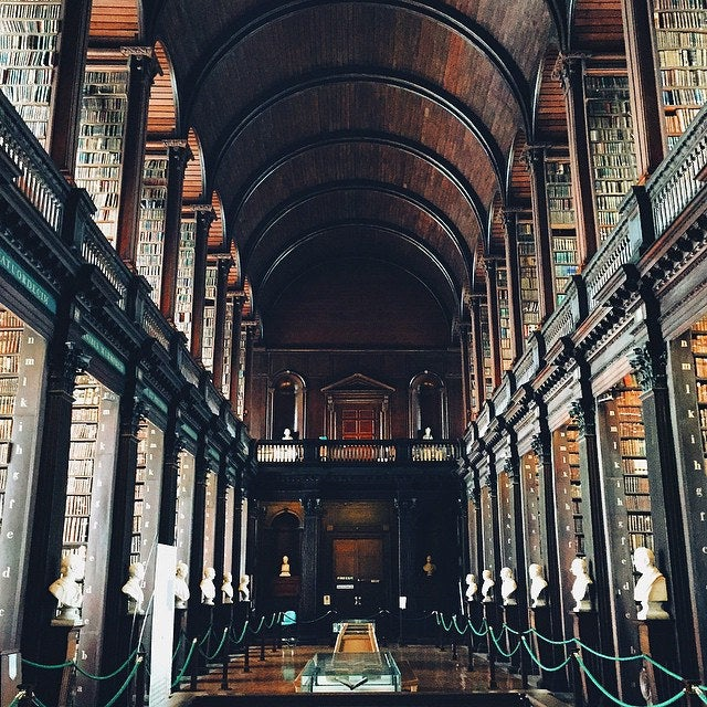 Fancy some light holiday reading? Attached to Dublin's Trinity College, the Old Library's main Long Room stretches for 65 metres and is home to 200,000 books. Checking out the Book of Kells – the world's most famous medieval manuscript – is a must.