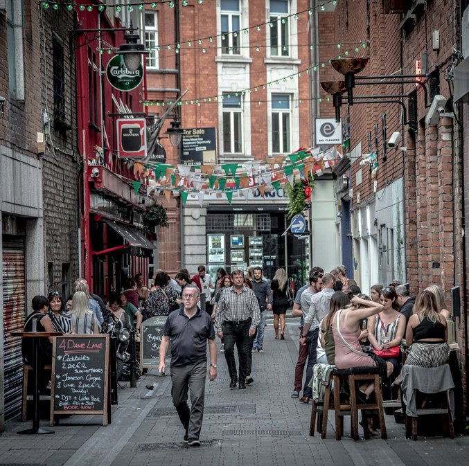 Get to know Dublin like a local by spending an afternoon venue-hopping through its bustling laneways. The famous Dame Lane is great place to start.
