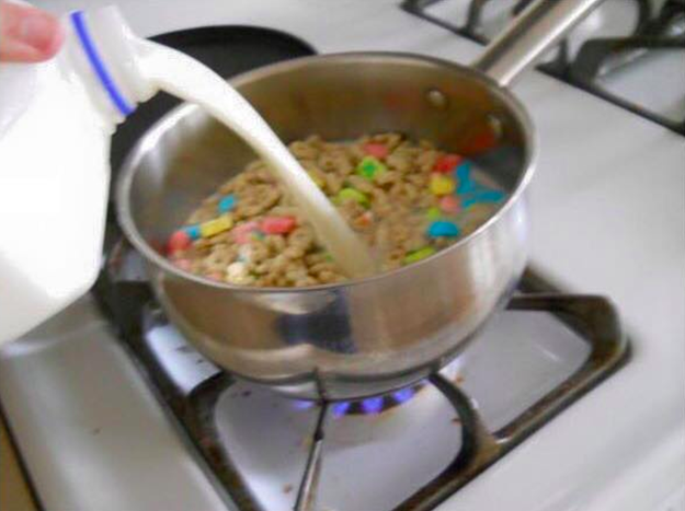 This pot of Lucky Charms that's been simmered on the stove: