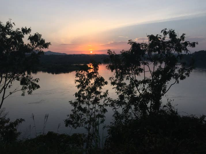 Sunset on the Nile River in Jinja, Uganda.