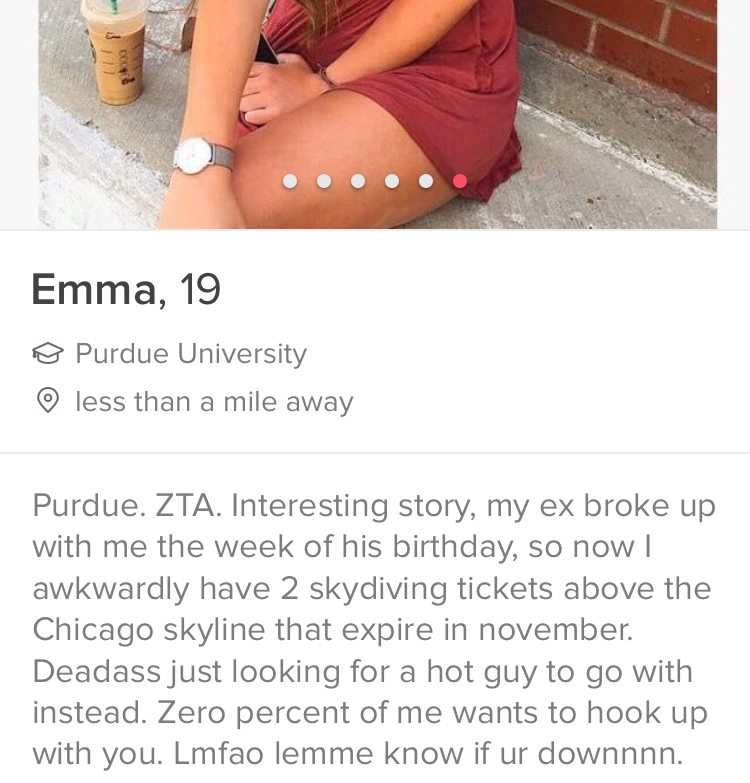 """She said that her ex was """"so devastated,"""" when he found out that she had bought the tickets, but she wasn't about to take him.""""Interesting story, my ex broke up with me the week of his birthday, so now I awkwardly have 2 skydiving tickets above the Chicago skyline that expire in november,"""" her Tinder bio ad begins. """"Deadass just looking for a hot guy to go with instead."""""""