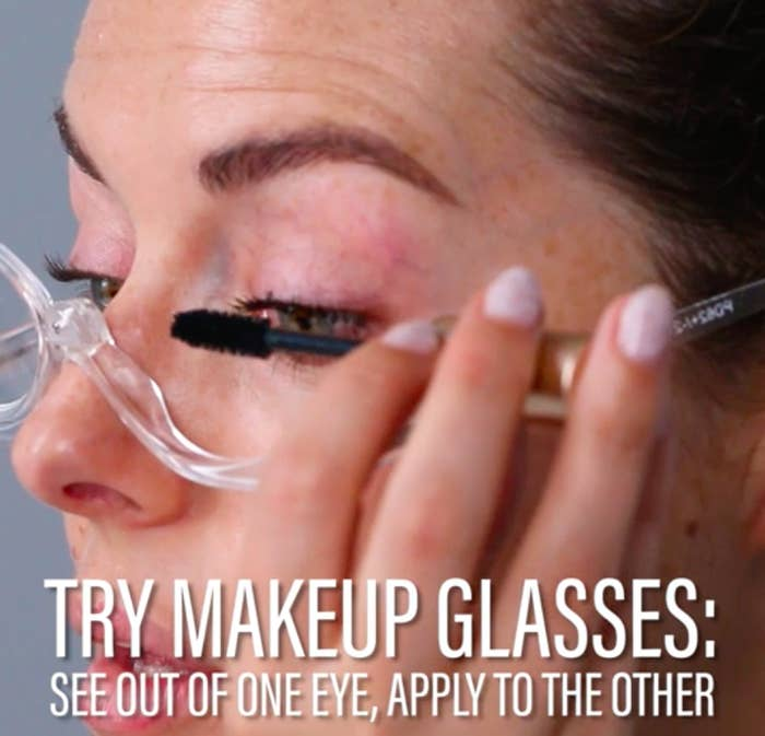 They have 2.5x magnification, and there's just one lens you can flip from one eye to the other so it doesn't get in the way of your eyeliner, shadow, or mascara!Get them from Amazon for $10.95.