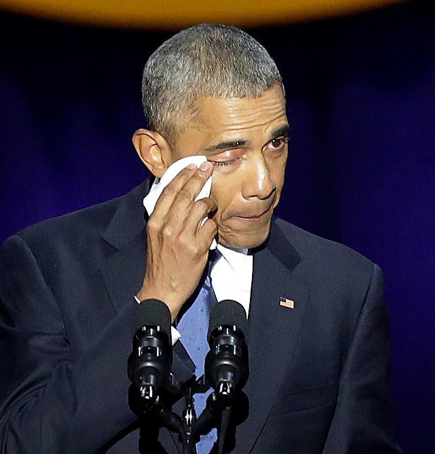 """""""I was proud that I did not cry in front of her, but on the way back, the Secret Service was looking straight ahead pretending they weren't hearing me as I sniffled and blew my nose,"""" Obama said. """"It was rough."""""""