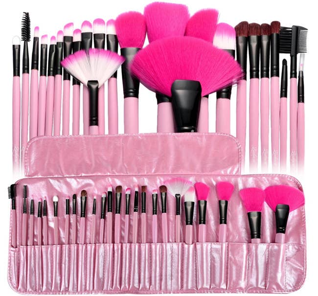 """Promising Review: """"I absolutely love this brush set. I originally purchased this only because the set is pink. But once I opened my package, I fell in love! Not only do the brushes have a soft texture, but they come in so many different sizes! This brush set is great for achieving a high-end makeup look."""" —MrsPrissyPrice: 32-piece set for $14.87"""