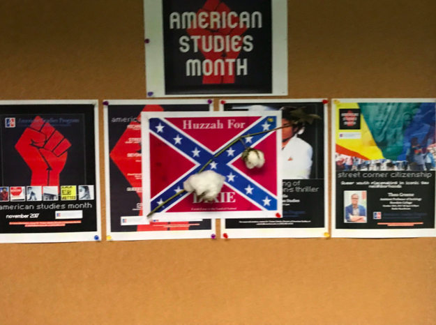 A man allegedly posted 10 Confederate flag flyers with cotton attached to them around the American University campus in Washington DC, on the same day that the school introduced plans for its new anti-racism center.