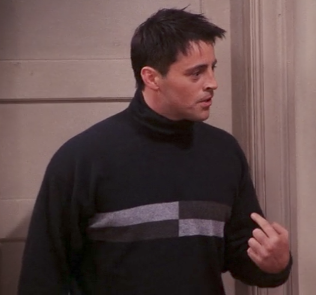 Joey's turtleneck with rectangles.