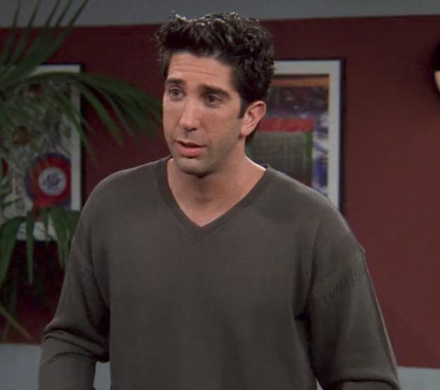 Ross's drab, greyish v-neck.