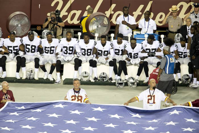 Oakland Raiders sat during the national anthem before their game Sunday against the Washington Redskins.