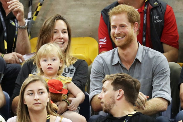 Prince Harry attended the Invictus Games in Toronto on Wednesday, along with his friend, Paralympian David Henson. The prince sat next to Henson's wife, Hayley, and the couple's super-cute daughter, Emily.