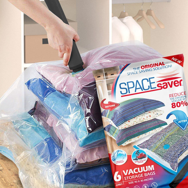 use vacuum packing bags for cutting down the space taken up by bulky items like jackets blankets and comforters