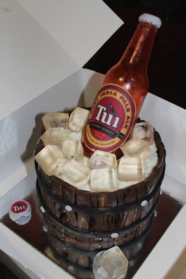 This beer cake where even the bottle is edible.
