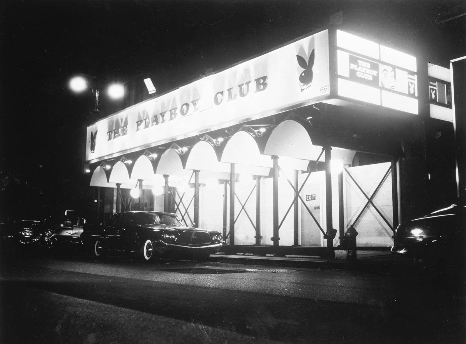 Exterior of Hefner's Playboy Club in midtown Manhattan, circa 1966.