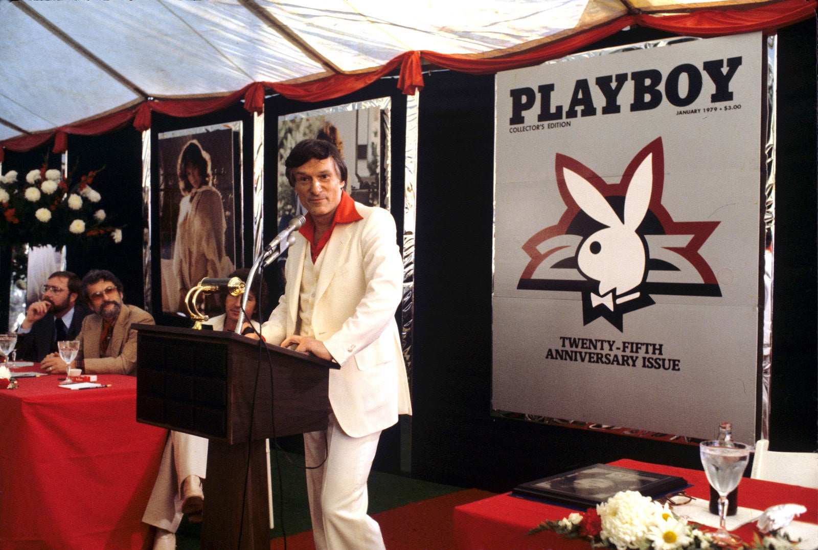 Hefner speaks to an audience during the release party for the Playboy 25th anniversary issue in 1979.