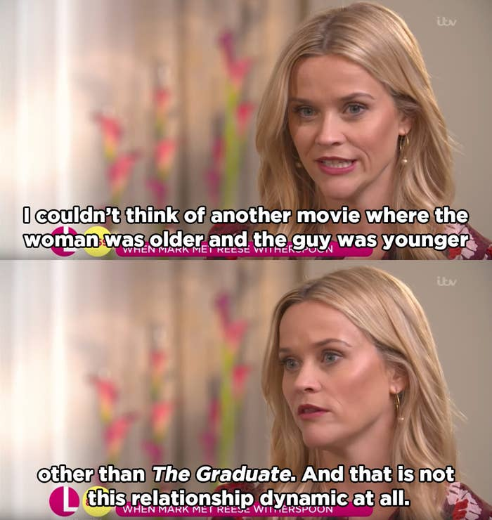 """""""We always see older men with younger women on screen, and I think maybe it's because people don't think about it,"""" she said."""
