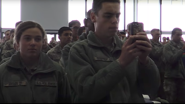 """In one of the most memorable moments of the address, Silveria told the 4,000 cadets standing at attention to grab their cell phones and record the last words of his speech: """"If you can't treat someone with dignity and respect, then get out."""""""