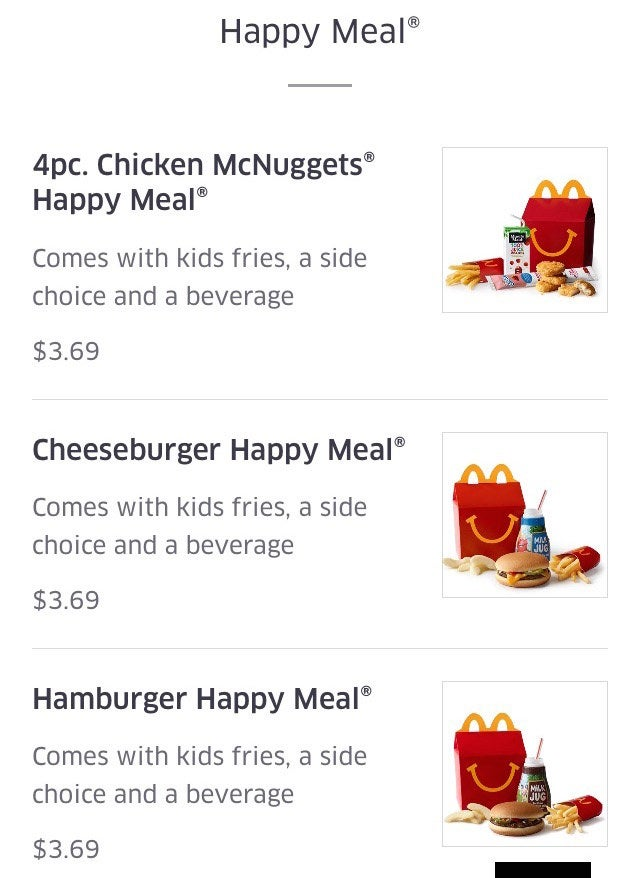 A Happy Meal menu on UberEats in New York City.