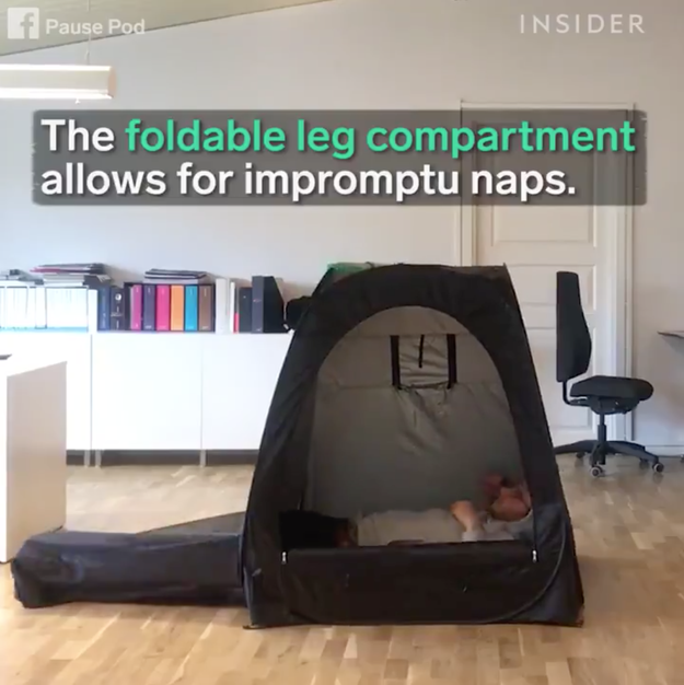 "Besides popping out in seconds and shutting light and sounds out, the Pause Pod also features a ""foldable leg compartment"" that allows for impromptu naps."