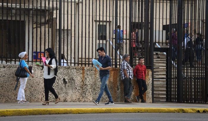 The scene outside the US Embassy in Havana in January.