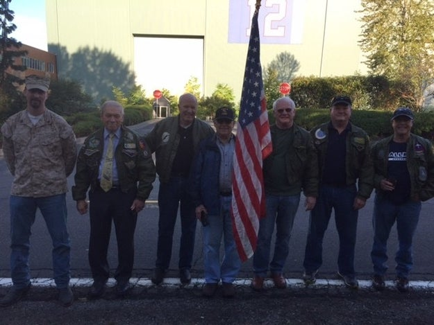 But a group of Seattle veterans, many of whom served in the Vietnam War, were offended by the Seahawks action that they headed to the team's headquarters at the Virginia Mason Athletic Center on Tuesday to protest.