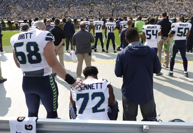 "Bennett began sitting during the national anthem after the white supremacist rally in Charlottesville in August, and said at the time that he planned to do so all season. ""I just wanted to remember why we were American citizens, remember the freedom, the liberty and the equality, make sure we never forget that,"" he said."