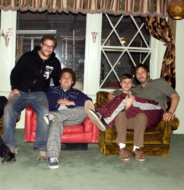 JUST. LOOK. AT. THESE. BABIES. Seth Rogen, Jonah Hill, Michael Cera, and Evan Goldberg are basically just on the brink of adulthood on the set of Superbad.