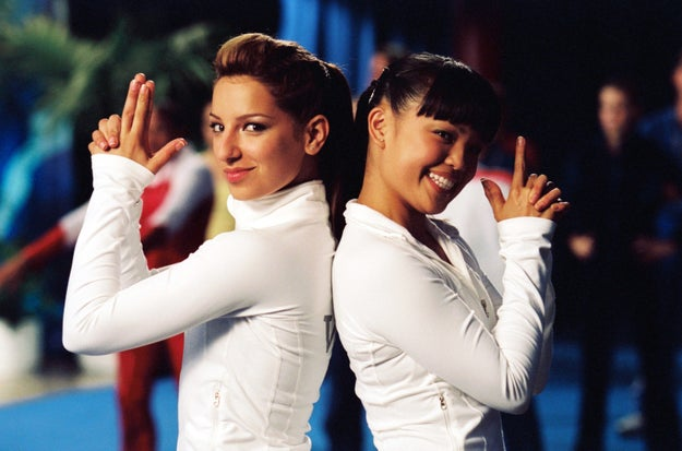 Wow, OK, look at Vanessa Lengies and Nikki SooHoo channeling Charlie's Angels on the set of Stick It, one of history's most important gymnastics movies.