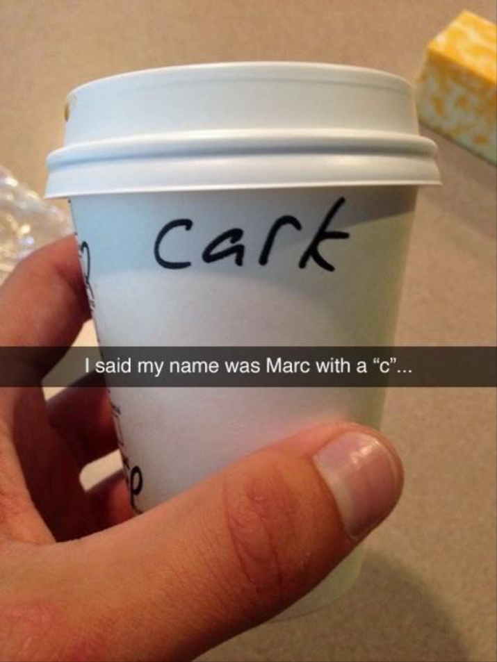 The greatest Starbucks name fail ever, even better         than Clint's.