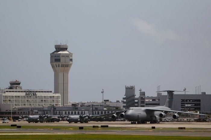 U.S. Military cargo planes at the Luis Munoz Marin International Airport in San Juan