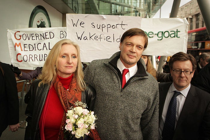 Andrew Wakefield with his wife, Carmel.