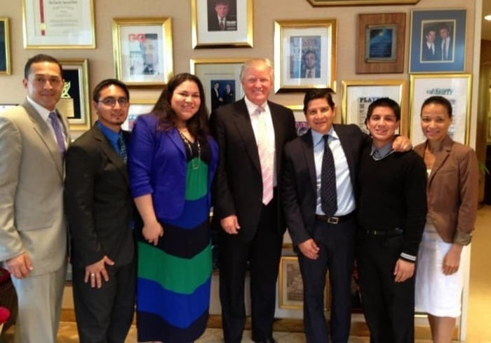 Trump poses with DREAMer activists in 2013.