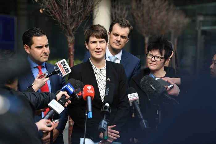 (L-R) Co-Chair of Australian Marriage Equality Alex Greenwich, Anna Brown, Public Interest Advocacy Centre CEO Jonathon Hunyor, lesbian mum Felicity Marlowe.