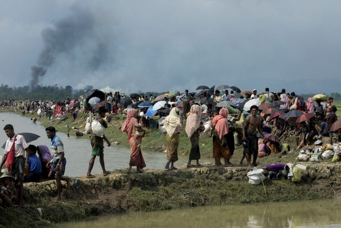 Smoke billows above what is believed to be a burning village in Myanmar's Rakhine state.