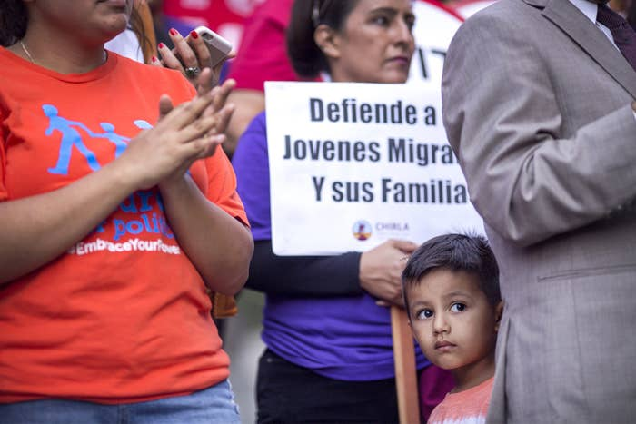 Immigrants and supporters rally in Los Angeles after President Trump ordered an end to DACA.
