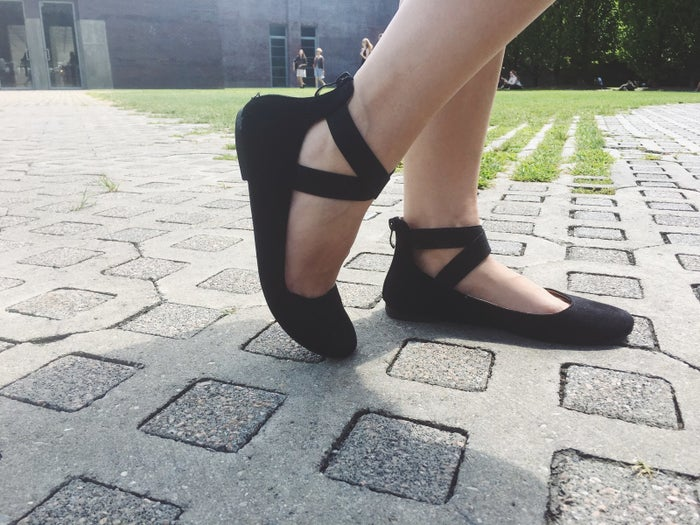 """I had my doubts, of course (buying shoes online is tricky, since 90% of the time it's a gamble whether or not they'll *actually* fit), but I went in with an open mind and I was definitely not disappointed.So here's the story of my impulse buy: I'm not very diligent about shoe shopping, so I tend to wear the same one or two pairs of shoes throughout a season. But when my go-to cat flats —which are ADORABLE, and I'd repurchase in a heartbeat —got holes in the bottoms (I taped them up for two months because I'm janky AF and was unwilling to part with them), I figured it might be time to buy a new pair of flats. You right now: """"LOL, you don't say??""""TBH, the fact that these are available through Amazon Prime (because a day longer than two days is too long) was a main selling point but..."""