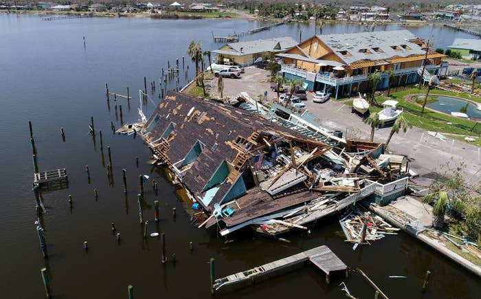 An aerial photo shows damage caused by Harvey in Rockport, Texas.