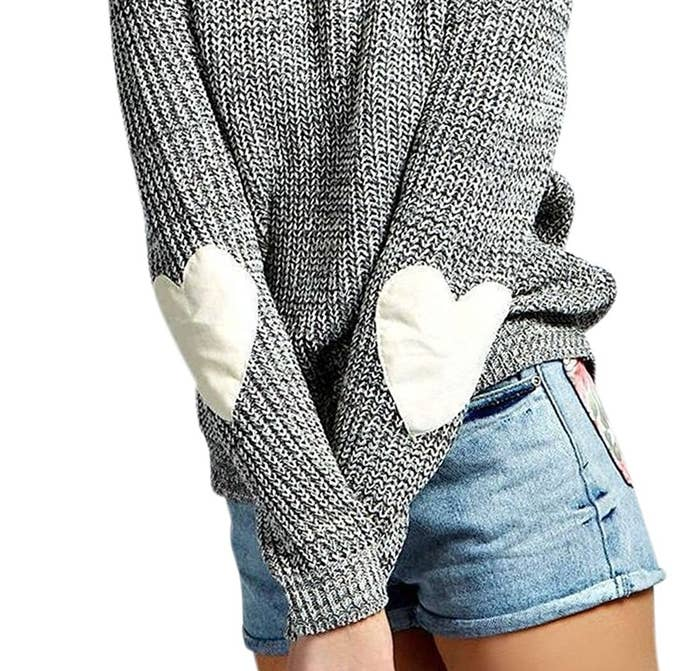 ed0628f7b2 This darling sweater with elbow pads shaped like hearts for looking like  the cutest professor at school.