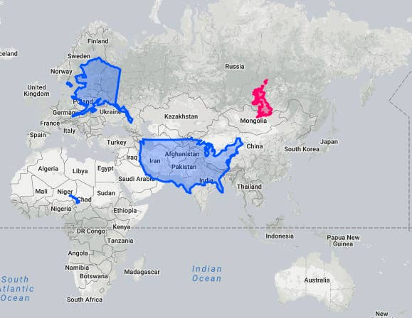 Put in the name of a country and The True Size will show you exactly how big that country is in comparison to others. It's fascinating. And, yeah, Alaska is big as hell.