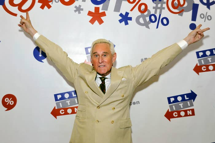 Roger Stone at Politicon at the Pasadena Convention Center in July 2017.