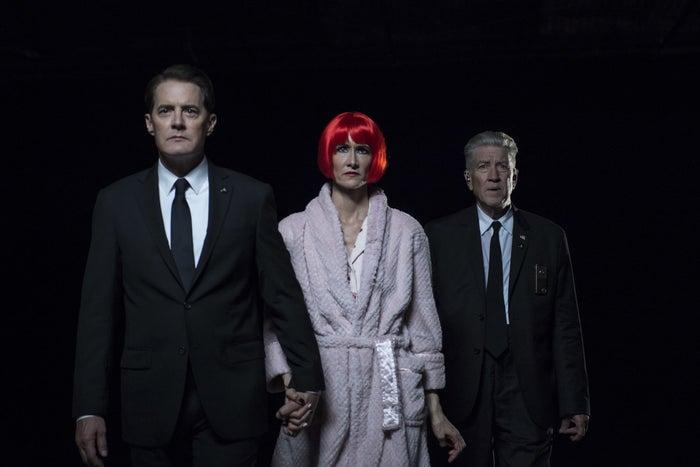 Kyle MacLachlan, Laura Dern, and David Lynch in Twin Peaks: The Return