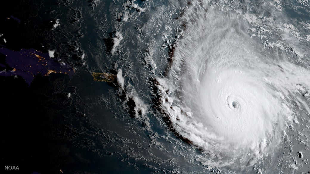 A Sept. 5 image of Irma as Category 5 storm from the NOAA's GOES-16 satellite.