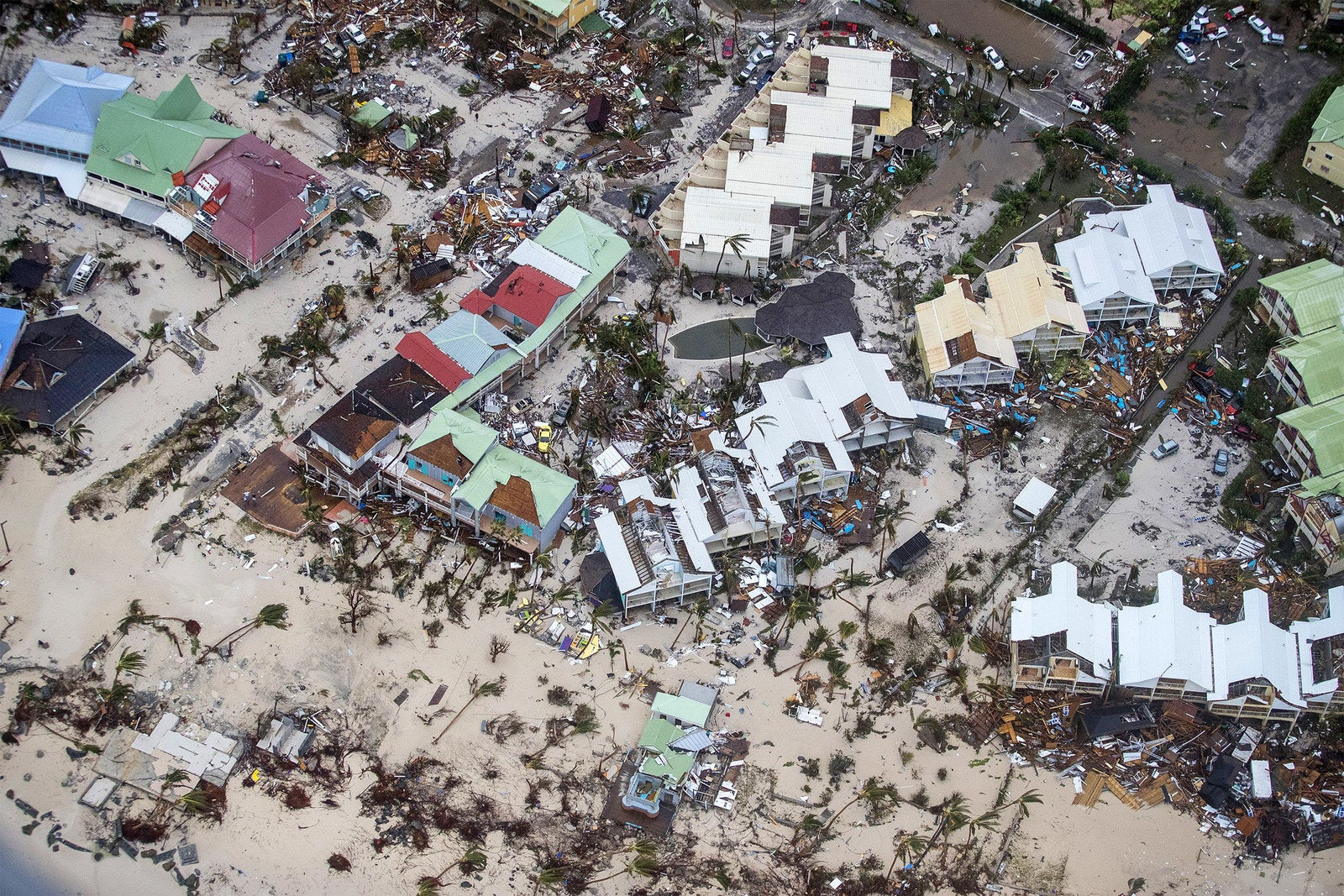 An aerial photograph taken and released by the Dutch department of Defense on Wednesday shows the damage of Hurricane Irma in Philipsburg on the Dutch Caribbean territory of Sint Maarten.