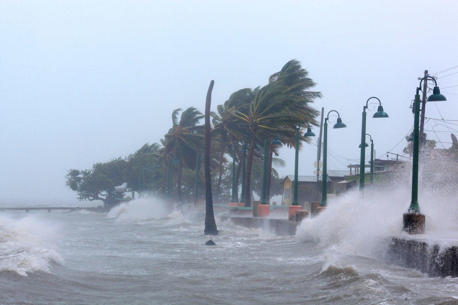 Waves crash against a seawall as Hurricane Irma slams Fajardo, Puerto Rico, on Wednesday.