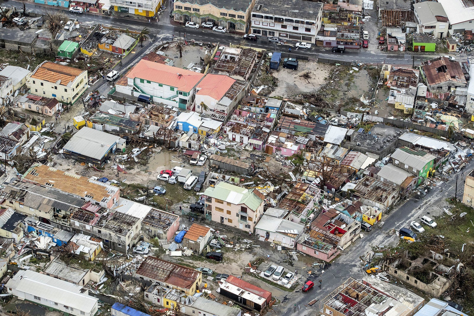 An aerial photograph taken and released by the Dutch department of Defense on Wednesday shows the damage of Hurricane Irma in Philipsburg, Sint Maarten.