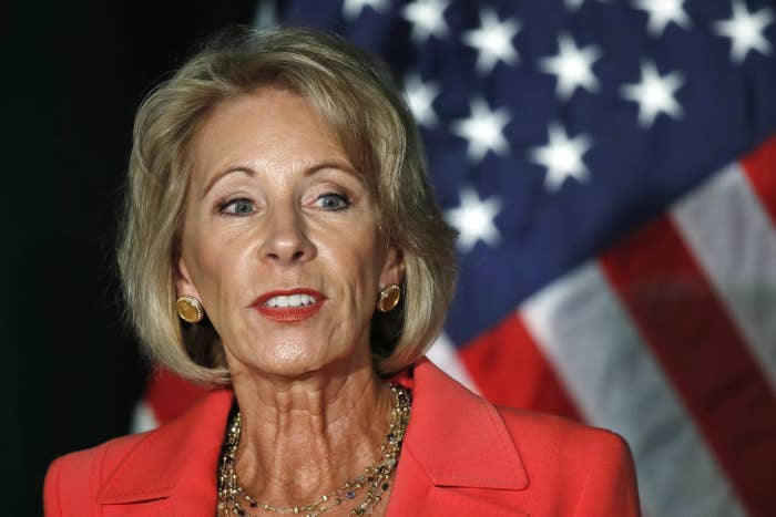 Education Secretary Betsy DeVos speaks about campus sexual assault and enforcement of Title IX on Thursday at George Mason University.
