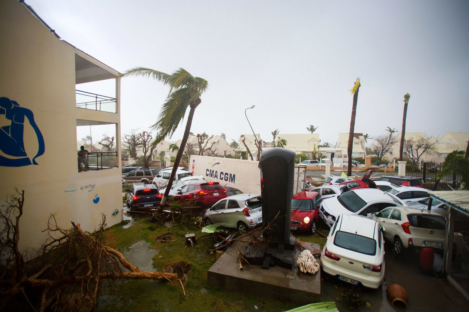 Cars are left piled on top of one another at the Hotel Mercure in Marigot, Saint Martin.